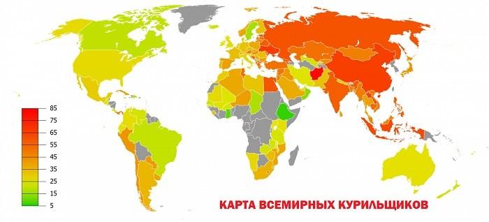 Карта всемирных курильщиков