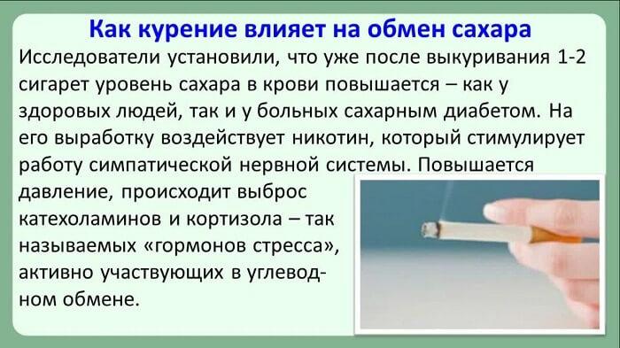 Как курение влияет на обмен сахара